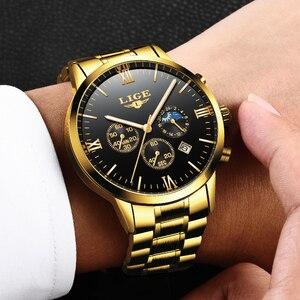 Image 3 - LIGE montre bracelet de Sport pour hommes, qualité militaire, cuir et acier, Top luxe, marque montre étanche décontractée