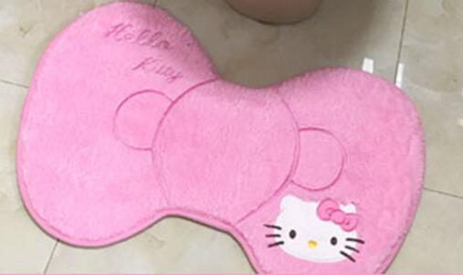 Мягкий теплый меховой коврик для ванной с рисунком котенка из мультфильма, Набор чехлов для унитаза - Цвет: pink bowknot mat