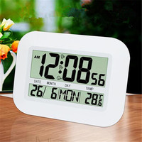 LCD Digital Wall Clock Table Big Number Desktop Alarm Clock with Temperature Thermometer Humidity Hygrometer Snooze Calendar