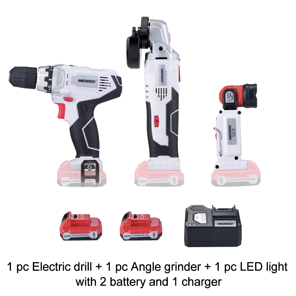 Keinso NEWONE 12V power tools set Angle grinder Electric drill and Led light share with two