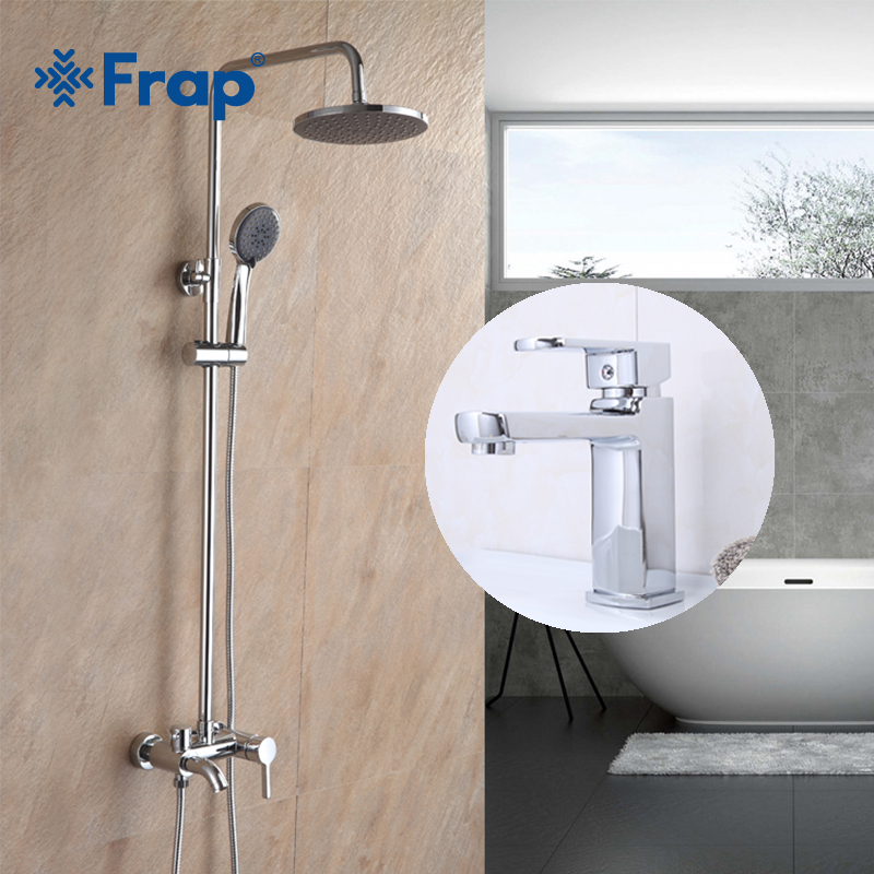 Frap Modern Style Bathroom Combination Shower Faucet with Basin Tap Hot and Cold Shower Head Wall Mounted Chrome F2416 F1073