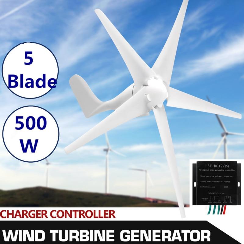 Real 500W Wind Generator+Controller 12V 24 Volt 5 Nylon Fiber Blade Horizontal Home Wind Turbines Power Energy Turbines ChargeReal 500W Wind Generator+Controller 12V 24 Volt 5 Nylon Fiber Blade Horizontal Home Wind Turbines Power Energy Turbines Charge