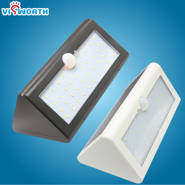 Visworth smd2835 38 leds 태양 램프 ip65 모션 센서 빛 방수 야외 정원 빛 벽 램프 센서 태양 빛