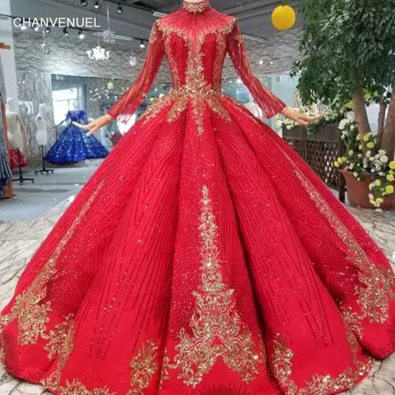 LS11238 ball gown red bridal wedding party   dresses   floor length high neck long sleeves prom   dresses   pleat   evening     dresses   women