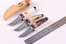 100% High Quality Antler Handle Damascus Collection Knives,Outdoor Hunting Knife,Survival Tools,gift box+leather sheath,On Sales