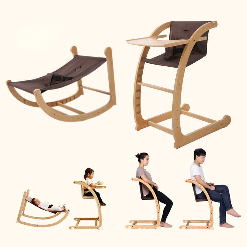 Multifunctional Baby Rocking Chair Dining Chair Highchair Seat Children Eating Chair Wood Kids Dining Table And Booster Chair