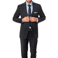 2017 잘 생긴 격자 무늬 블랙 현대 맞춤 웨딩 남성 정장 2 버튼 노치 옷깃 남성 정장 신랑 턱시도 사용자 정의 만든