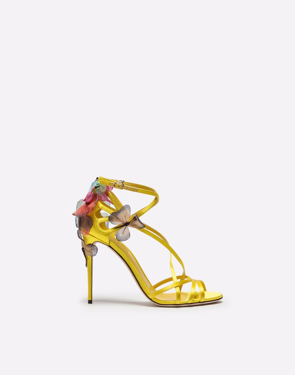 2018 New Fashion Handmade Erfly Sandals Women Lemon Yellow Black Satin Stiletto High Heels Ankle Wrap Woman Luxury