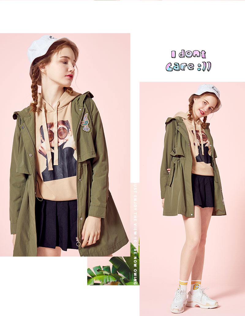 SEMIR Windbreaker Female 18 Autumn New Hooded BF Style Student Patch Embroidered Waist Long Fashion Coat For Girls 7