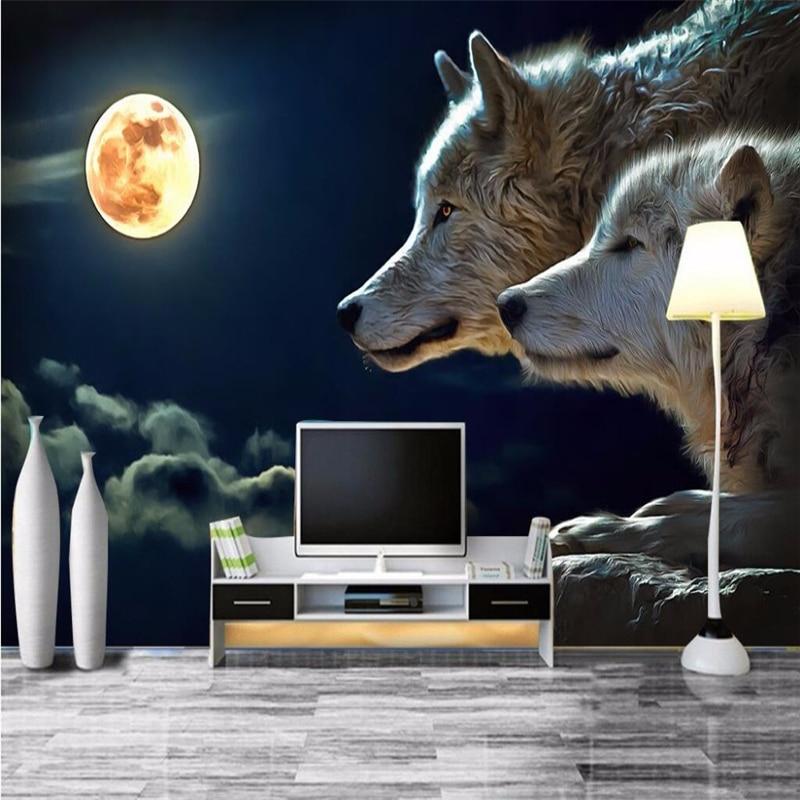 Beibehang wanddekorpapier Nacht helle runde mond wölfe angriff ...