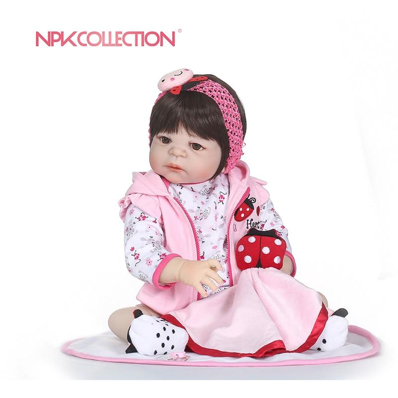 NPKCOLLECTION 55cm Soft Silicone Reborn Dolls Baby Realistic Doll Reborn Full Vinyl Boneca BeBe Reborn Doll For Girls Birthday
