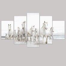 Sin marco Moderno Pintura de la Lona Running White Horse Animal de Impresión A4 Cartel Pictures Home Decor Pared Pintura Al Óleo Del Paisaje Marino 5 unids