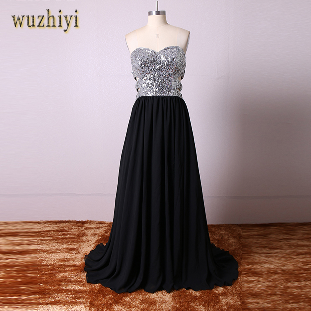 wuzhiyi Sweetheart   Prom     dress   Sliver Sequined CHiffon burgundy   prom     dresses   2018 Custom made High Split   Prom   Gown Cheap New