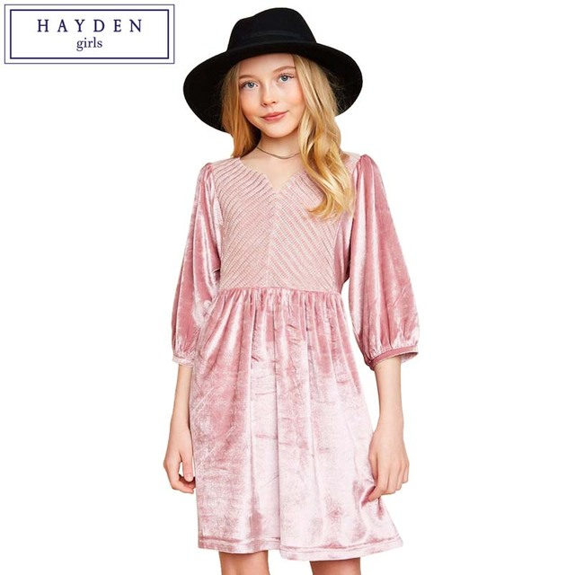 09a0c84b5568 HAYDEN Girls Dress 10 to 12 Years Big Girls Velvet Dresses 2018 ...