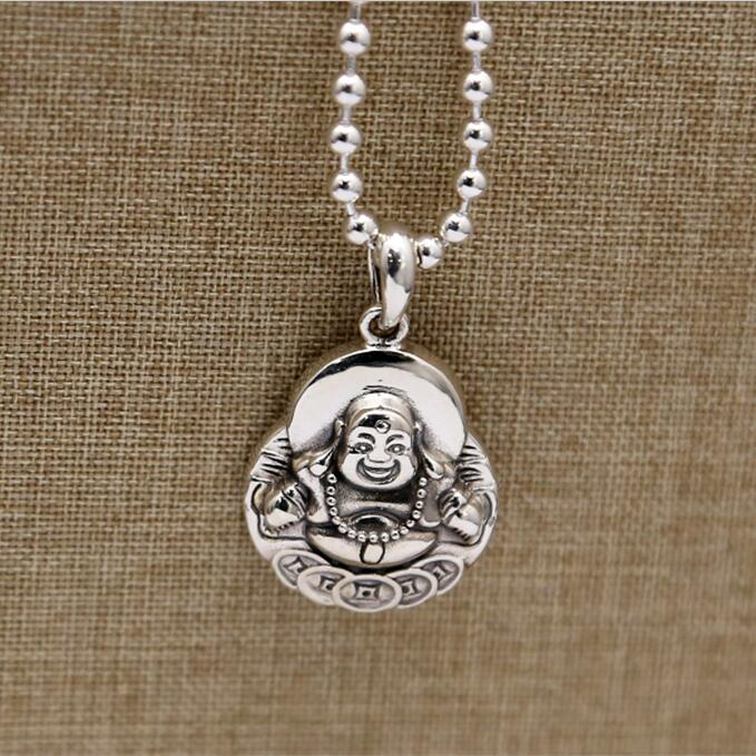 100 Solid Real Silver 925 Pendant For Necklace Men Women China Wealth Luck Smile Buddha Figure