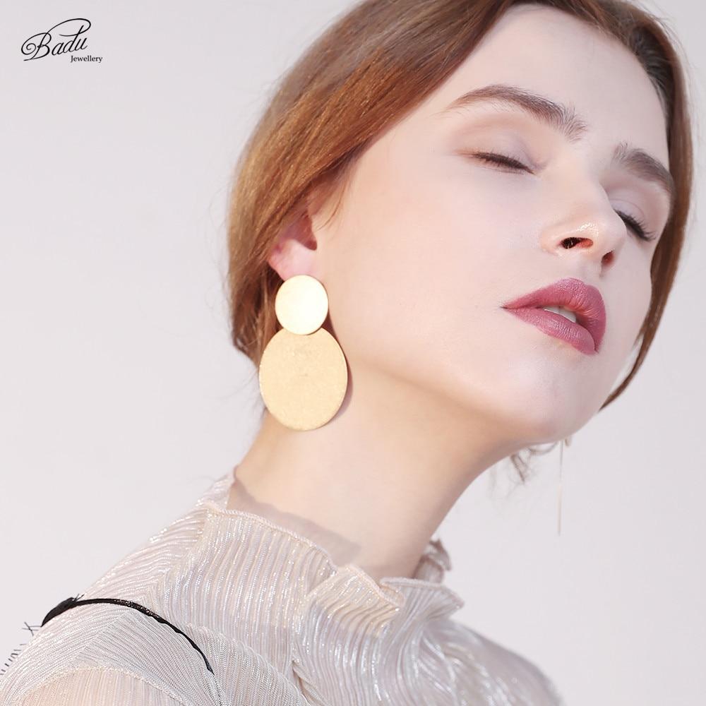 Badu Big Round Earring Frosted Gold Silver Punk Jewelry for Women Geometric Simple Fashion Zinc Alloy Stud Earrings Wholesale in Stud Earrings from Jewelry Accessories