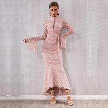 ネックのセクシーな夜クラブドレスの女性のマーメイド 新しいセレブパーティー包帯レースドレス女性ピンク黒フレア Vestidos O
