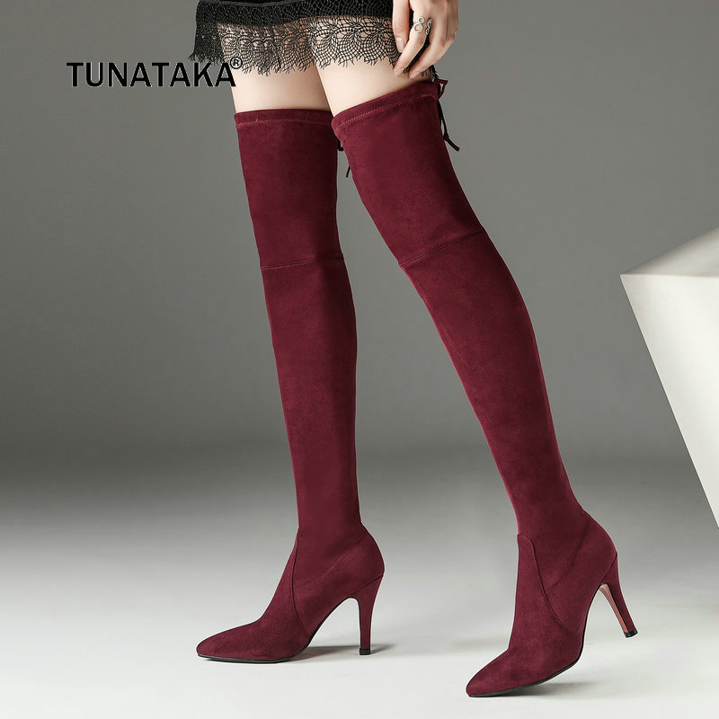 Ladies Suede Lace Up Thin High Heel Over the Knee Boots Fashion Pointed Toe Slip On Women Warm Winter Stretch Thigh Boots Black women suede thin high heel over the knee boots fashion slip on stretch boots female fall winter pointed toe thigh boots black