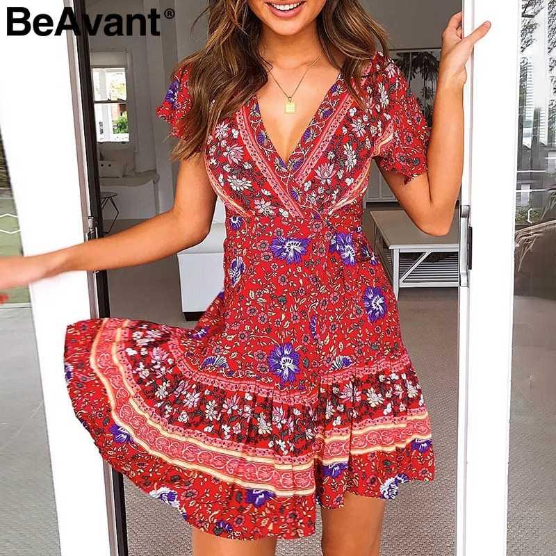 806f2fd6944 BeAvant Floral print summer boho dress women Elegant ruffle holiday beach  short dress 2019 V neck