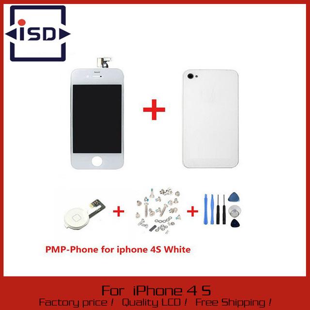 Digitador Da Tela branca do Toque + Display LCD + Vidro Voltar Habitação capa + Home Button peça de reposição Para o iphone 4S & Ferramentas de Parafuso