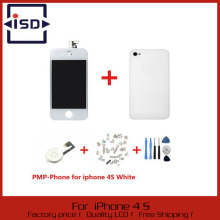 White Touch Screen + LCD Display Digitizer + Glass Back Housing Cover + Home Button Replacement part For iPhone 4S &Screw Tools