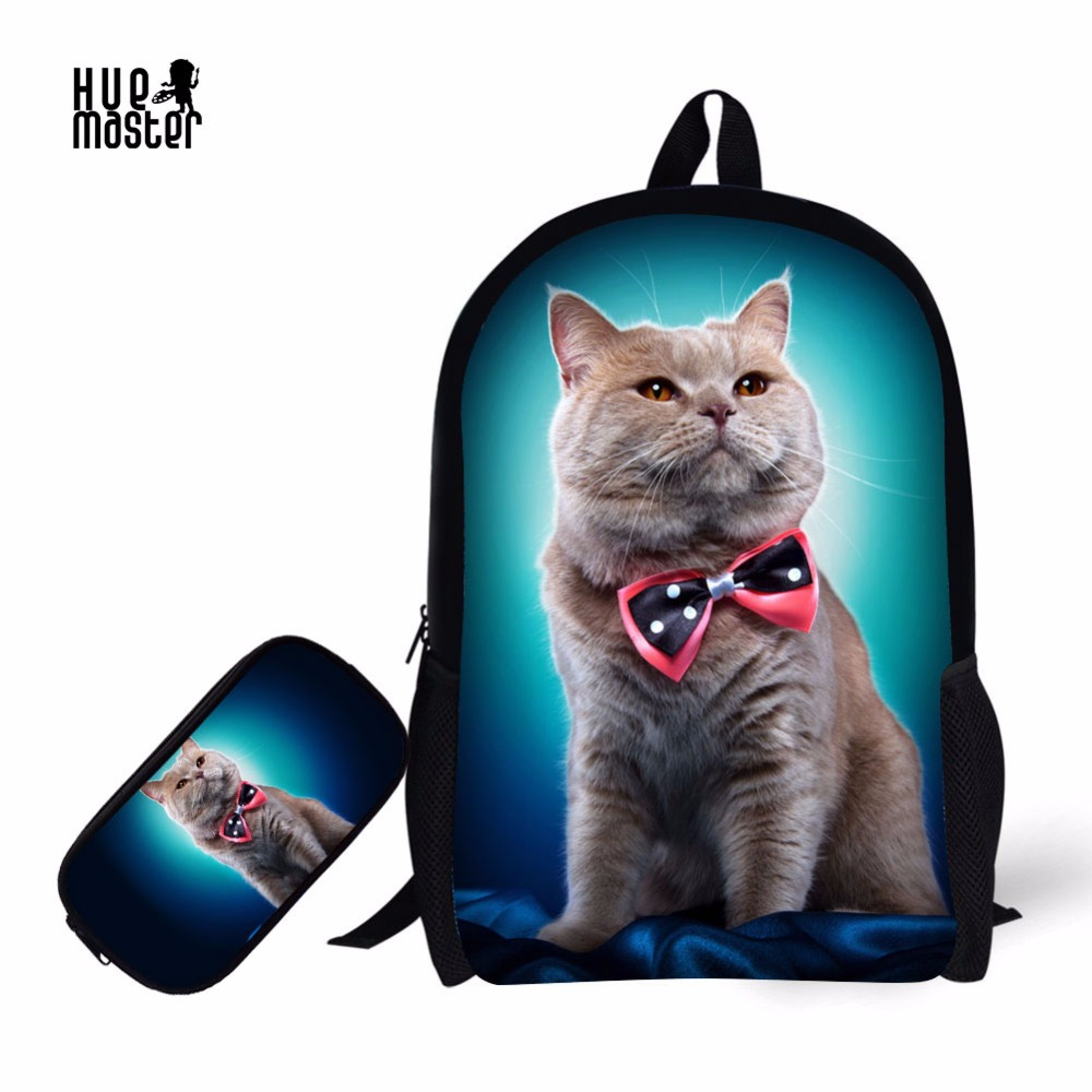 Bags For School Pencil Case Learn Combination Cat Print School Backpack For Primary Students+Pencil Box Mochila Escolar Feminina