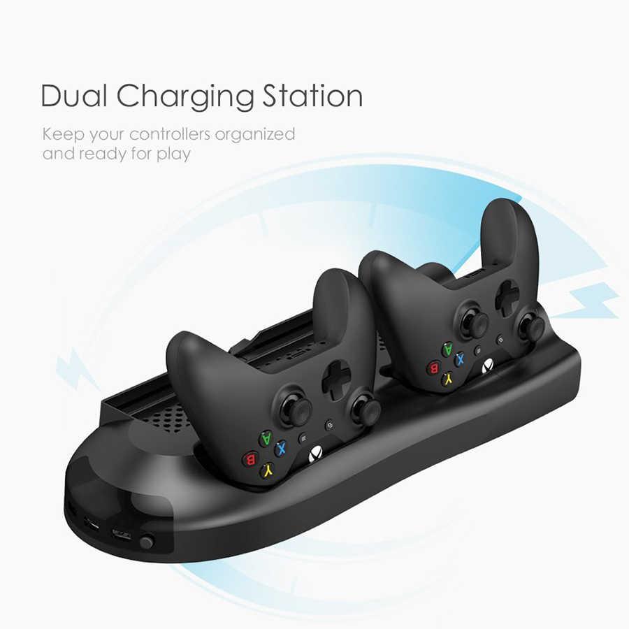 5 в 1 вертикальная подставка для Xbox One X Вентилятор охлаждения с контроллером зарядное устройство зарядная станция игровые диски хранения и 3 порта usb