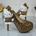 Леопард Золото и Черный Горный Хрусталь Свадебные Туфли с Hello Kitty Свадебные Туфли Платформа Пром Обувь Плюс Размер 11