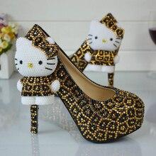 Leopard Gold und Schwarz Strass Hochzeit Schuhe mit Hallo Kitty Brautkleid Schuhe Plattform Partei Prom Schuhe Plus Größe 11