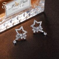 Special Fashion Star 925 Sterling Silver Stud Earrings AAA Zirconia Teardrop Ear Pins Wedding Jewelry Gifts