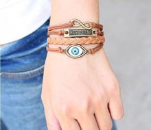 ,New Christmas Gifts Vintage Handmade Braided Leather Blue Eye Bracelet Best Friend Jewelry