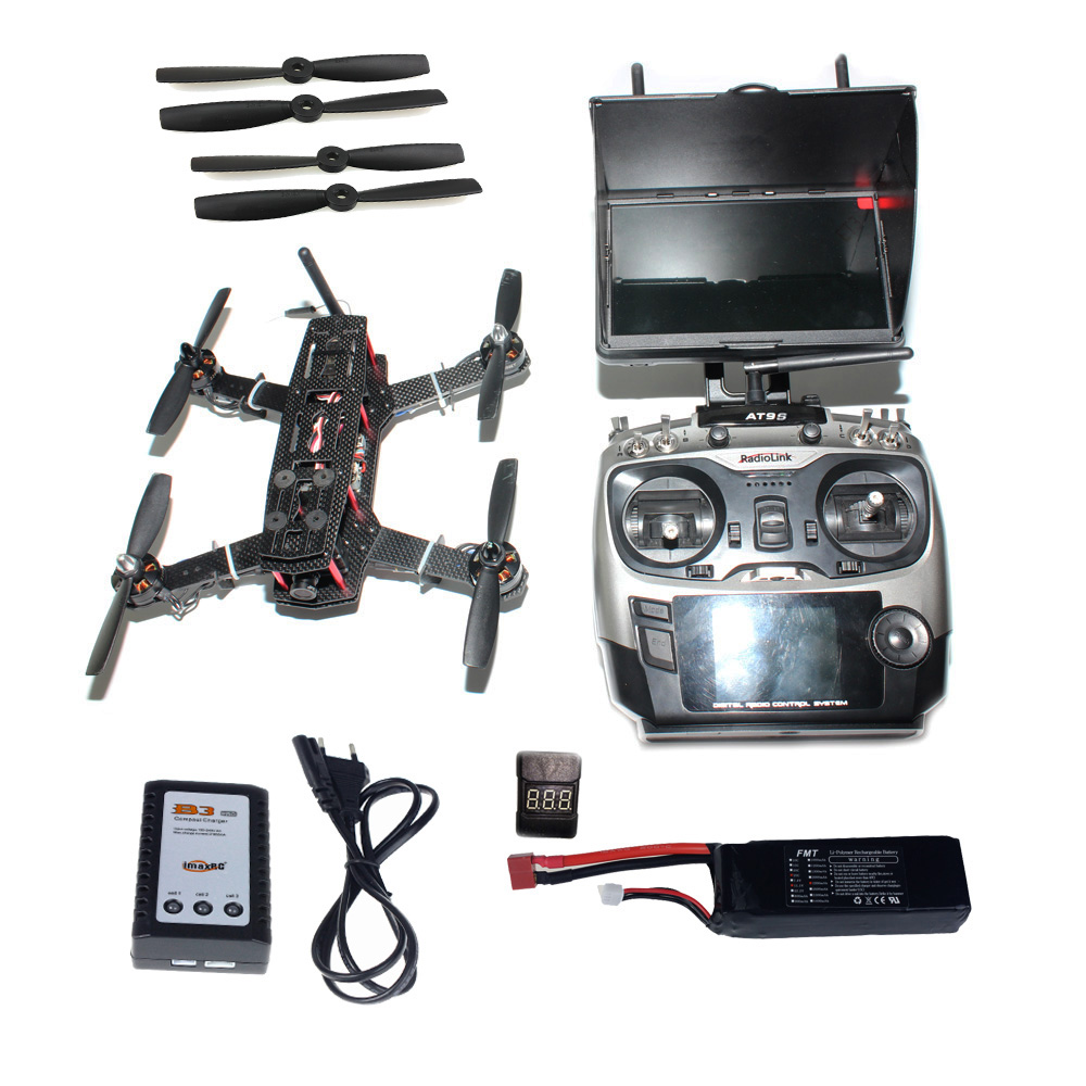 DIY Racer 250 FPV RTF Drone with Racing F3 Flight Controller 5.8G FPV CCD Camera Radiolink AT9 TX&RX Flying Time 13 Min