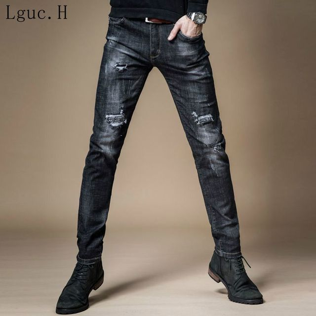 5d691d9359439 H New Mens Designer Clothes Denim Jumpsuit Jean Pants Korean Rock Splash  Stretch Moto Distressed Ripped Skinny Jeans Men