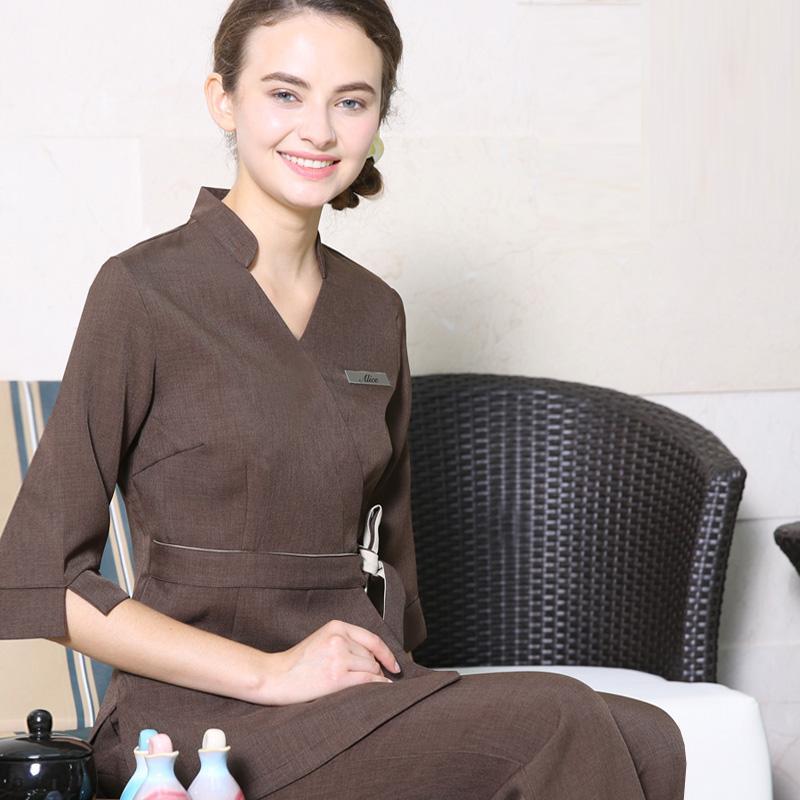 2017 Primavera/Verão Mais Recente Trabalho Roupas 5 Cores V Neck Moda SPA Uniforme Custom Made Uniformes de Beleza Massagem Rosa Workwear