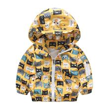 Fashion boys clothes jacket coat autumn winter jacket for baby kids cotton cat print hoodies coat children boys tops outwear