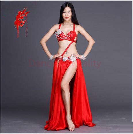 7ce8b0630c Swarovski rendimiento conjunto de danza del vientre superior y falda 2  unids salón bailarín superior set sexy señora Cosplay vestido womendance  trajes