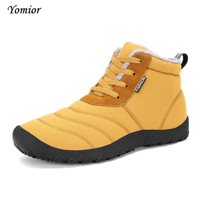 Yomior модные зимние сапоги унисекс Водонепроницаемый ботильоны Мужские зимние сапоги Высокое качество Пух обувь Обувь на теплом меху повсед…