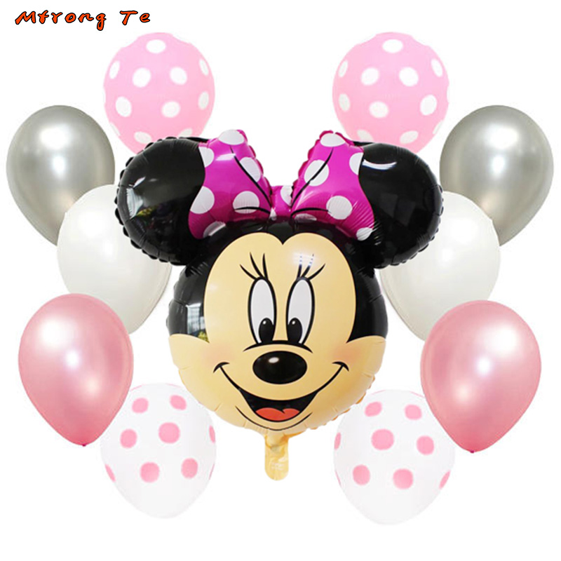 11pcs mickey minnie mouse Foil air Balloons Polka Dot Balloons for Baby shower one year old 1st birthday decoration globos
