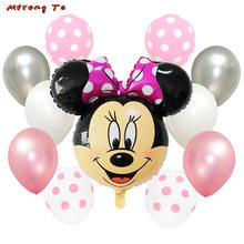 11pcs mickey minnie mouse Foil air Balloons Polka Dot Balloons for Baby shower one year old 1st birthday decoration globos(China)