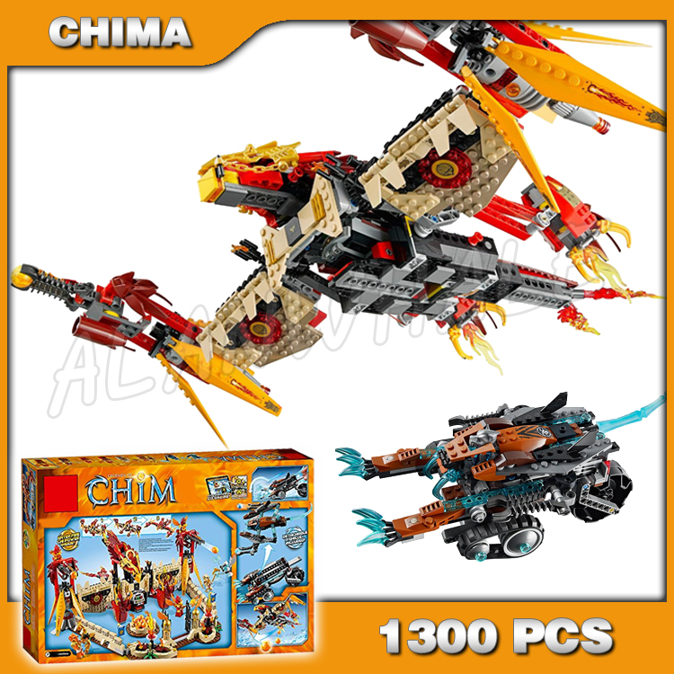 1300pcs Flying Phoenix Fighter Fire Temple Base 10298 Toys For Kids Model Building Blocks Bricks movie Compatible with Lago image