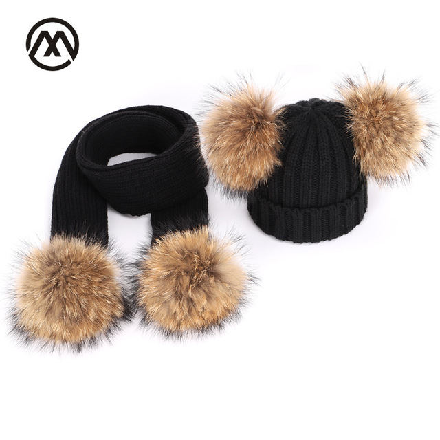 05cd109e1f8 Winter Knitted Children Raccoon Fur Pom Pom Hats Scarf Two-Piece Mask Boy  and Girl Warm Comfortable Adjustable ski beanie caps