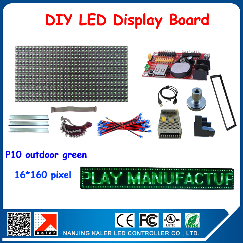 Free Shipping Diy Led Signs For Advertising Waterproof Outdoor Led Signboard With 5pcs Green Color P10 Led Modules Outdoor