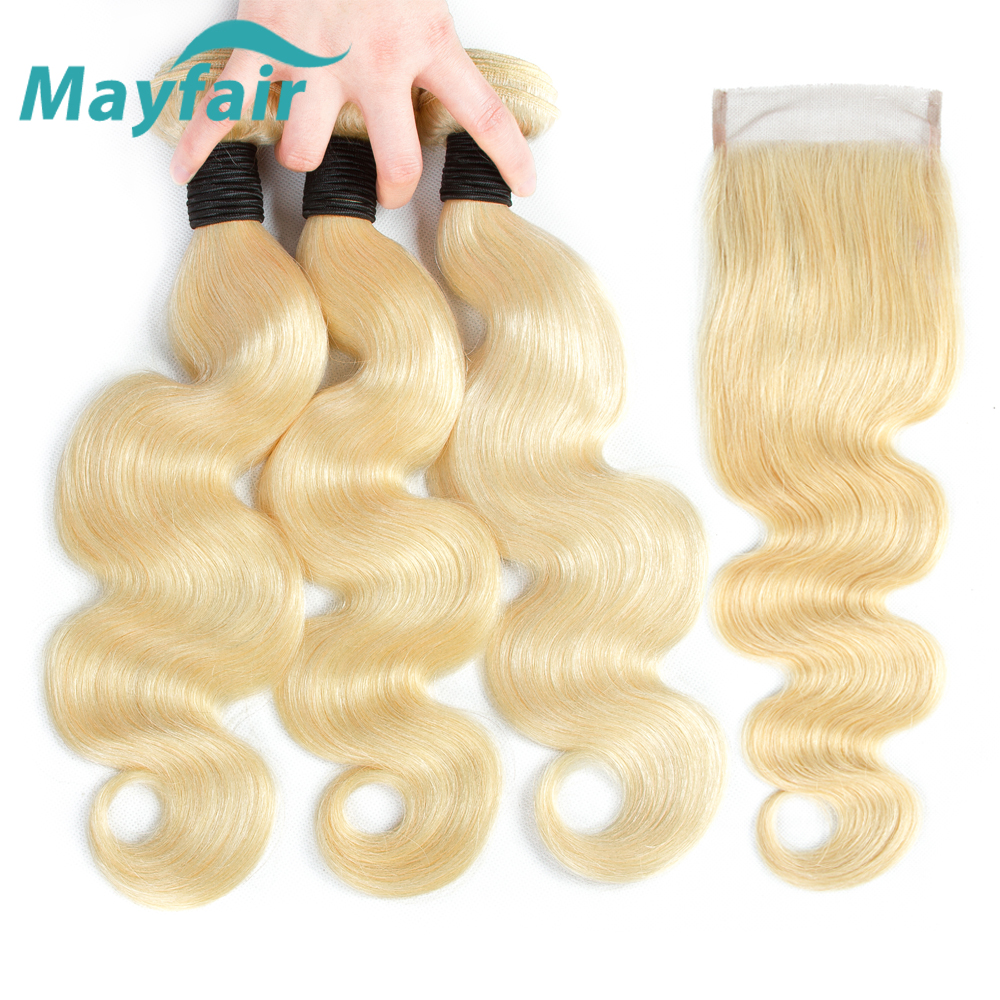 Mayfair 613 пучки с закрытием объемная волна 3 пучка с закрытием не Реми волосы для наращивания блонд бразильские человеческие волосы
