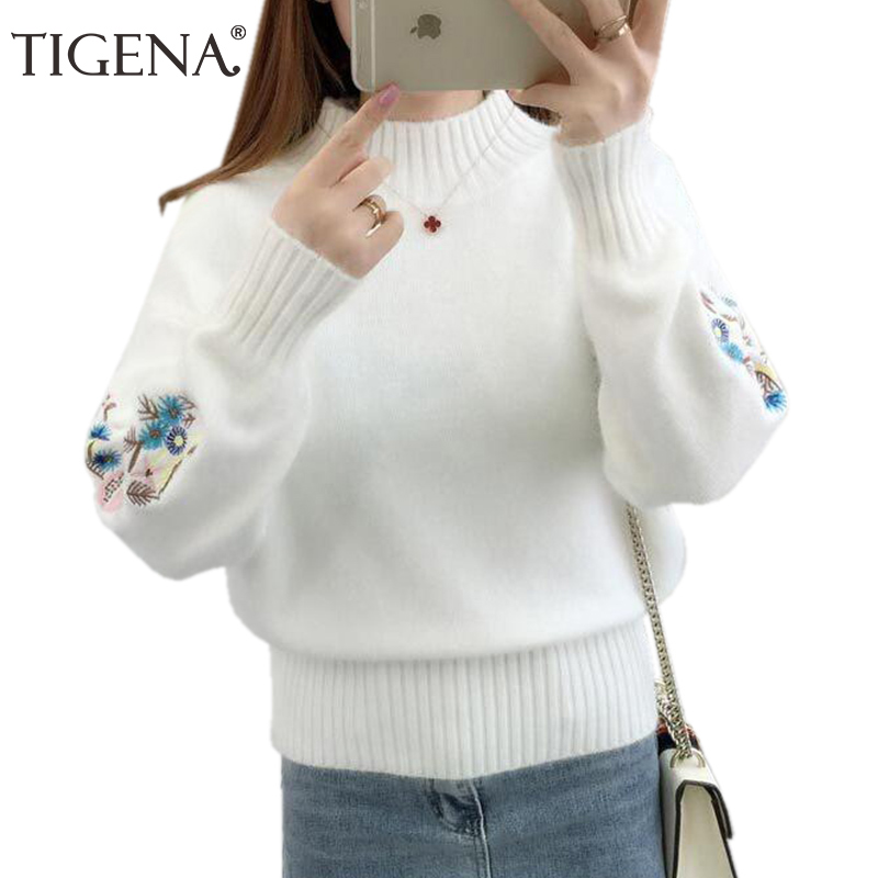 TIGENA Embroidery Turtleneck Sweater Women 2019 Winter Thick Warm Women Pullovers and Sweaters Female Knitted Pull Femme Red