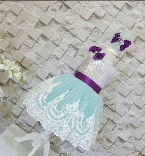 2017 summer sky blue lace flower girl dress with silver sequin top and purple bow sash baby birthday party outfits
