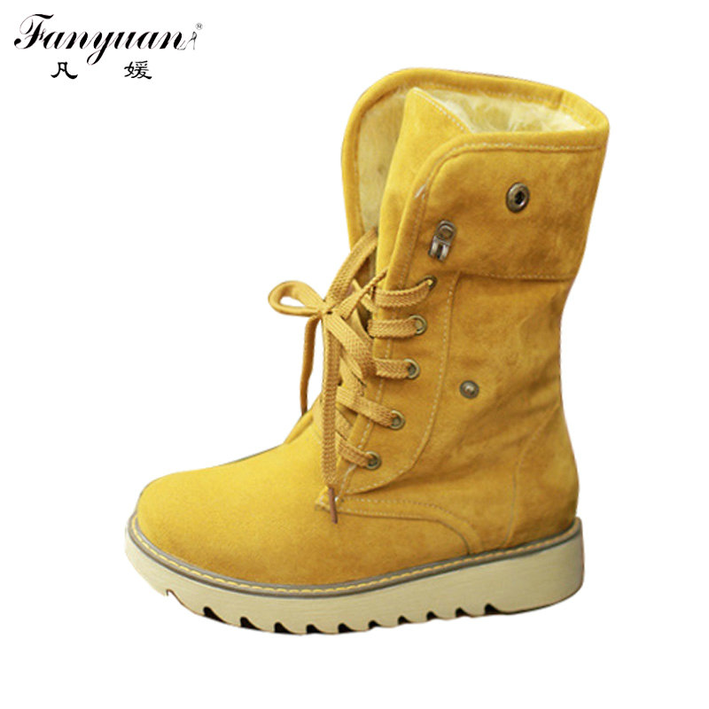 fanyuan Style Winter Women's Flat Ladies' Ankle Snow Boots