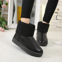 Winter Women Snow Boot Ankle Metallic Color Flat With Fur Women Shoes Plus Velvet Yarn Knitted