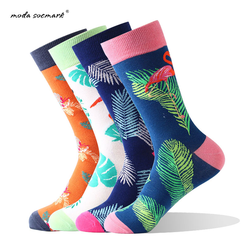 Moda Socmark Brand 2019 Street Style Men Socks Flamingo Printed Cotton Socks Rainbow Colorful funny Socks Crew Weed Socks Men