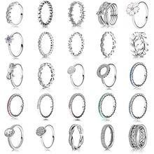 25 стилей, модное поступление, 925 пробы, серебряное кольцо, амулеты, 6 цветов, капля масла, жемчуг, сделай сам, полное Кристальное кольцо для женщин, ювелирное изделие