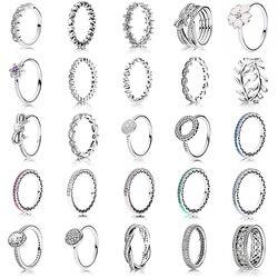 25 tarzı Moda Geldi 925 Ayar Gümüş Yüzük Takılar 6 Renk Damla Yağı Inci Diy Tam Kristal Yüzük Kadınlar Için takı
